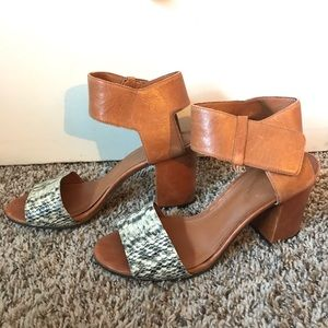 Enzo Angiolini open toe leather block heel sandals